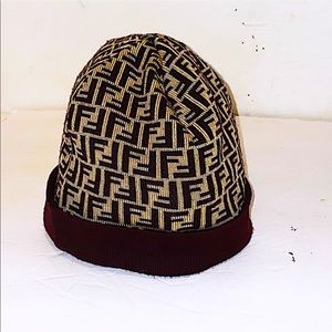 Authentic Vintage Fendi Zucca FF Wool Beanie